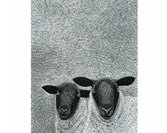 Ink art print, Animal print, Black & white art, A4, Sheep print, Hand drawn, Art drawing of sheep, Black-faced sheep, Winter landscape