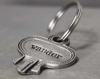 Wander Key Chain, Vintage Key Chain, Key Shaped Key Chain, Hand Stamped Key Chain, Inspiration Key Chain, Going Away Gift, Handstamped,