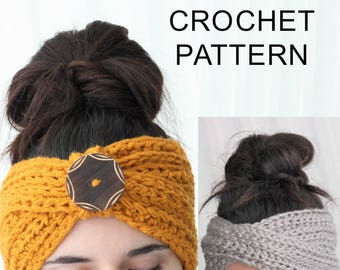 Crochet Pattern PDF, Patron de crochet - TYRA- Turban Ear Warmer, Boho Head Wrap, Crochet Headband, Crochet like knit Headband, Easy Crochet
