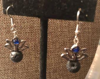 Blue lotus flower earrings with lava stones