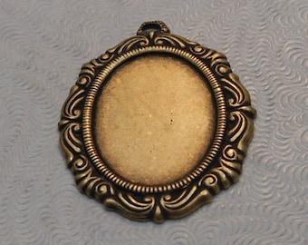 LuxeOrnaments Oxidized Brass Filigree Pendant Setting (18x13mm tray) (Qty 1) 27x21mm S-5913-B