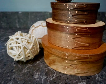 Oval Nesting Shaker Boxes: Stack of 3 mixed woods