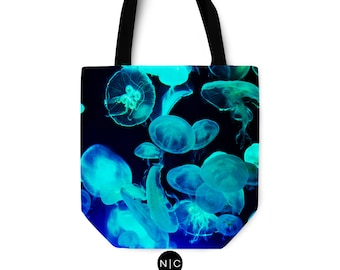 Blue Moon Jellyfish - Tote Bag, Black Beach Surf Fashion Accessory, Boho Chic Market Shopping Towel Bag in Basic and Adjustable Strap Option