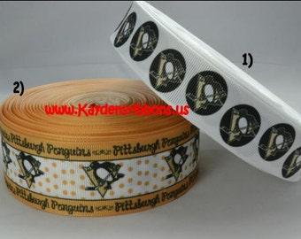 3 yards Pittsburgh Penguins - 1 inch or 1.5 inch - Printed Grosgrain Ribbon CHOOSE COLOR