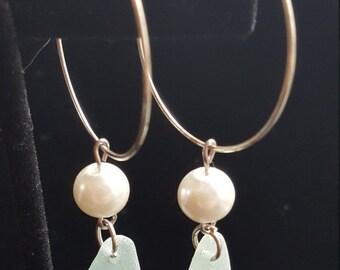 Light Blue Sea Glass & Pearl Hoop Earrings!