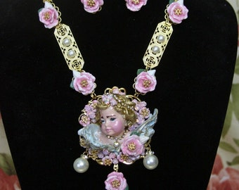 RESERVED Nadine Set Of HUGE Vivid Hand Painted Chubby Cherub Roses Crystal  Necklace+ Earrings