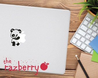 Panda Macbook Decal Sticker Cute Panda Wild Panda Carrying Apple Logo Macbook Vinyl Sticker Macbook Sticker Panda Macbook Apple Logo Decal