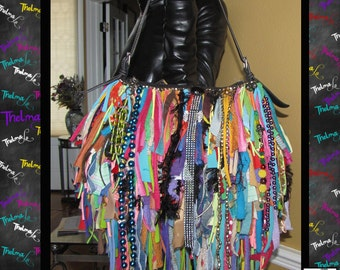 Rag fringe bag,Upcycled Fringe bag,beaded,Custom Made,One Of A Kind,Hippie,BoHo,Funky,Purse