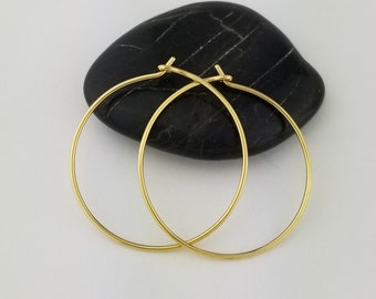 Thin 22k Solid Gold Hoop Earrings, 20 Gauge, Solid 22k Gold Hoop Earrings, 22k Hoops, Hammered Gold Hoops, Anniversary Gift Wife Jewelry