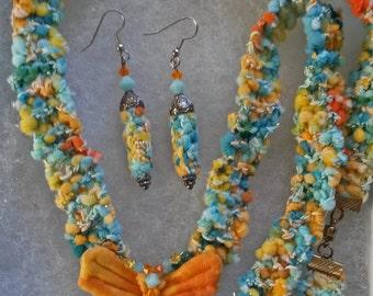 ON SALE: OOAK, Handknit butterfly necklace and earring set