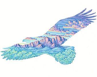 Mountain Eagle Original with 11x14 Mat - Colorful Mountain Art - Pen Illustration