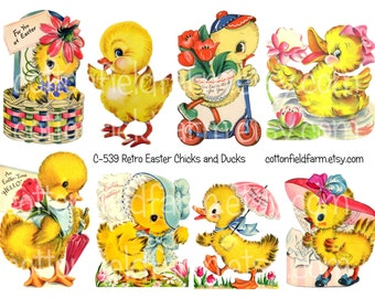 Retro Easter Chicks and Ducks Digital Collage Sheet C-539 for Tags, Stickers, Scrapbooking, Journaling Spots, Cardmaking, Commercial Use