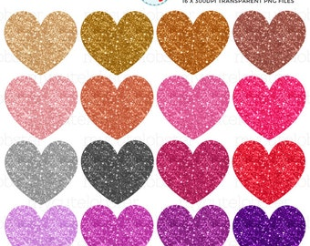 Glitter Hearts Clipart Set - clip art set of hearts, glittery hearts, glitter, hearts - personal use, small commercial use, instant download