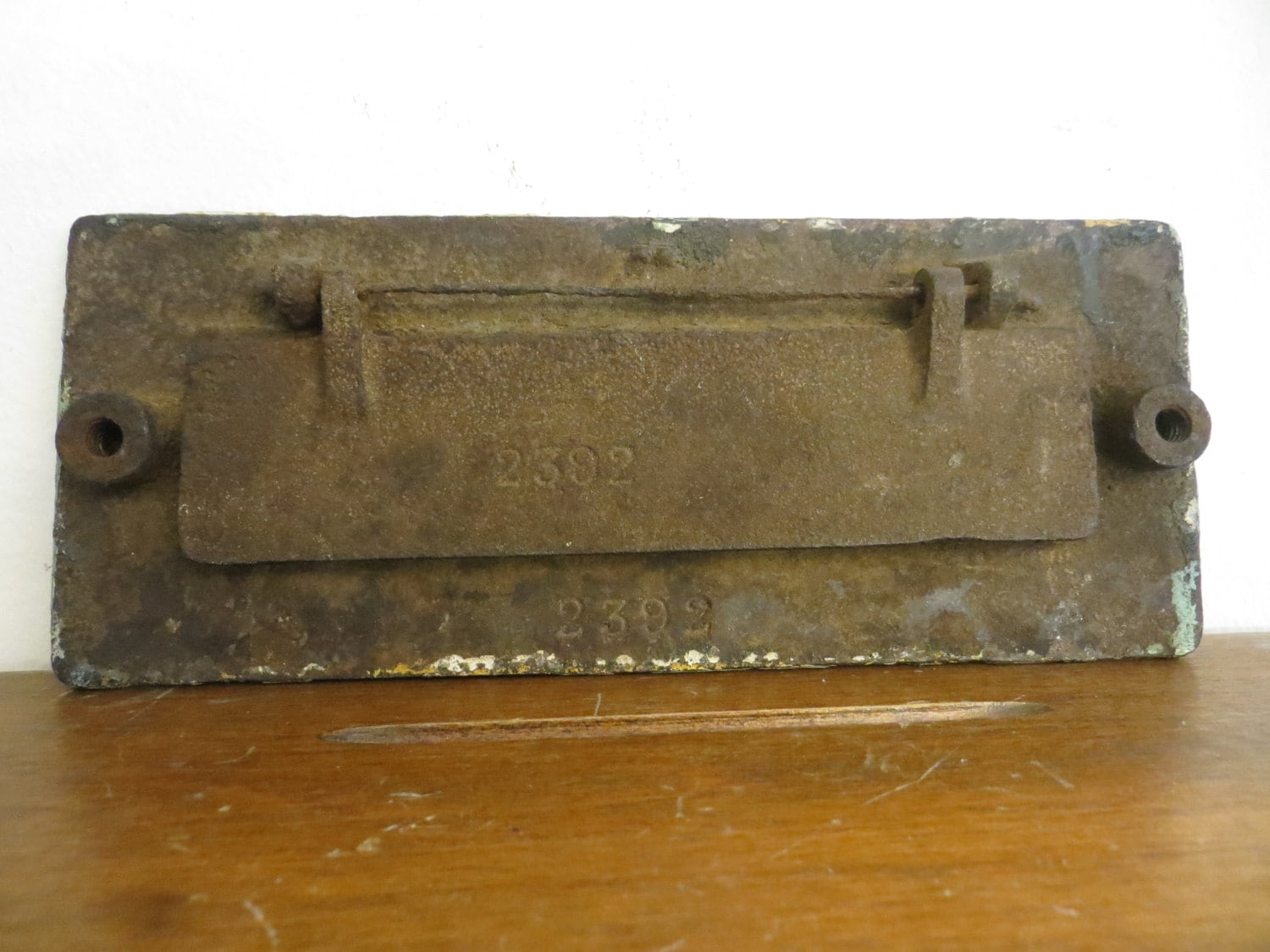 Sold by MoreUnusualTheBetter - Cast Iron Antique Mail Slot, Ornate Letter Slot, Door Mail Slot