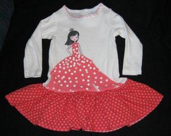 Little Princess Tee Shirt Dress - 3 mth - tshirt dress, tee shirt dress, princess tshirt dress, baby ruffled dress, infant ruffled dress