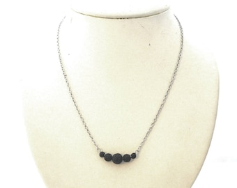 Lava stone bar necklace, black lava stones, stainless steel chain and finishing, lava rock, lava stone, essential oil diffuser, natural