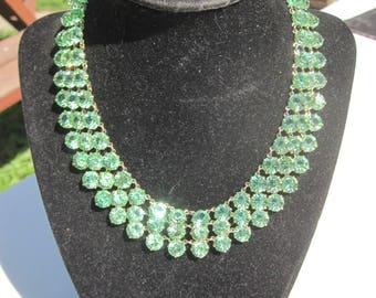 Green Triple Strand Bezel Necklace