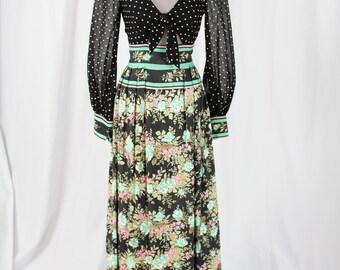 1960s Hostess Maxi Dress