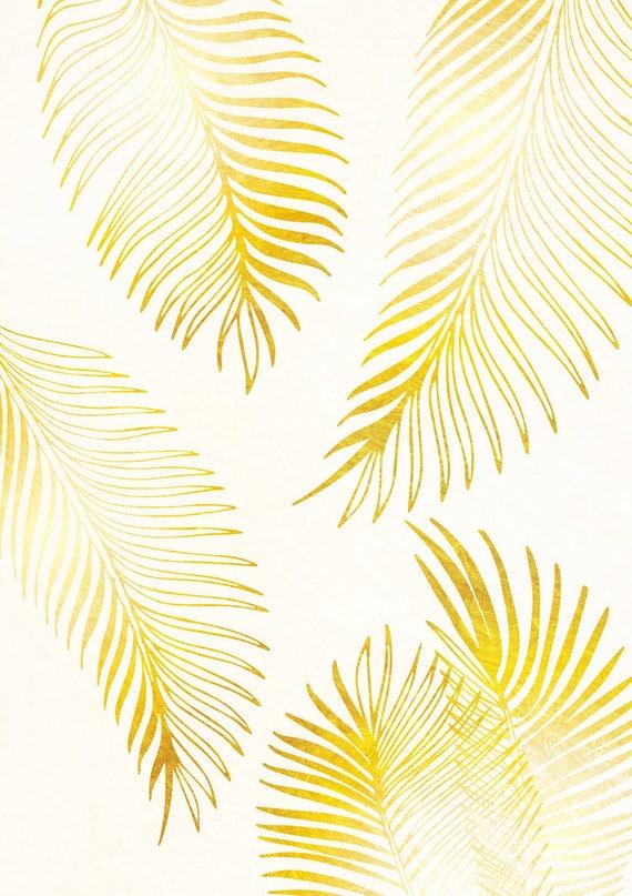 Gold Palm Leaf Print Art Wall