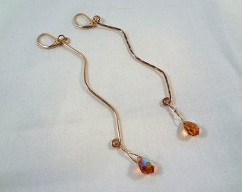 Dangle Earrings with Swarovski Crystals, Gold Filled (LVE60)