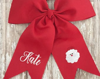 Beautiful Christmas Hair bow personalized embroidery