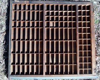 Hamilton  Antique Printer's Vintage Wooden Letterpress Unique Type Tray Drawer Shadow Box with 141 Compartments
