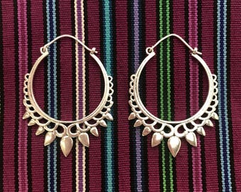Tribal Leaf Points Silver-Plated Hoop Earrings