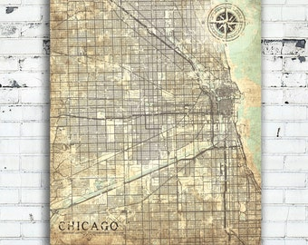 CHICAGO IL Canvas print Illinois IL Vintage map Chicago Il City Vintage Chicago map Wall Art poster antique old map gift home decor city map