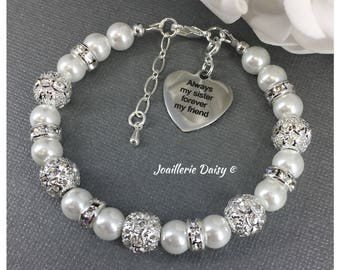 Always my Sister Forever my Friend Charm Bracelet Gift for Sister Birthday Gift Pearl Bracelet Thank You Gift Sibling Gift from Brother