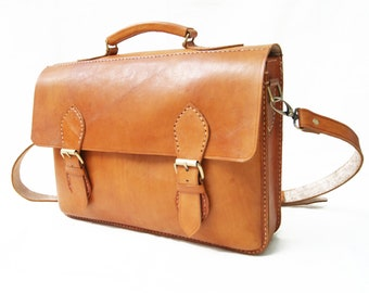 Brown Simple Laptop Bag Satchel Unisex Retro Hard Case