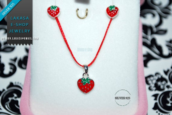 Best Price Juicy Strawberry Red Enamel Set Jewelry Necklace Earrings Sterling Silver White Goldplated Girl School Moda Kids Collection OFFER