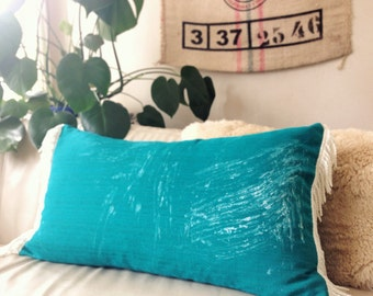 FlASH SALE! Hand-printed teal pillow with white fringe, pillow covers, boho pillow cover, fringe pillow, green pillow cover, teal pillow cov