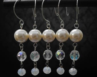 Pearl and Crystal Beaded Holiday Ornaments, set of 5