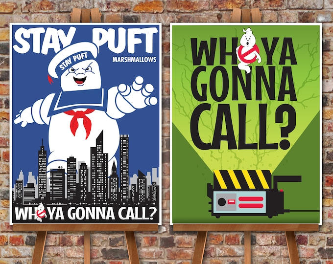 """Ghostbuster Party Poster Set - 18""""x24"""" Poster, Ghostbuster Birthday, Halloween Party, 2 Poster Set 