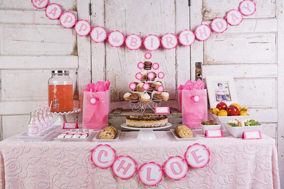 Items similar to Girl Birthday Party Decorations Princess Theme