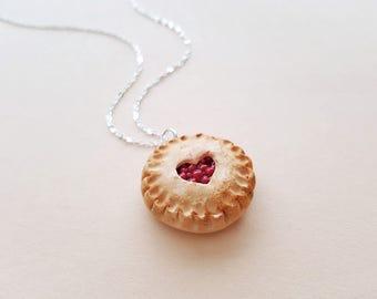 Cherry pie necklace, clay charm, cake necklace, miniature food charm, pie pendant, heart necklace, food jewelry, kawaii charms, best friend