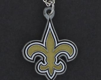 New ORLEANS SAINTS Necklace - Pewter Team Logo Charm on a FREE Cable Chain