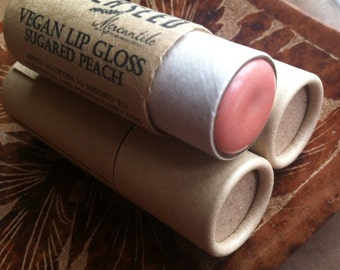 Vegan Lip Gloss - Sugared Peach - Big 0.33 ounce Compostable Plastic Free Cardboard Packaging