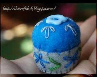 Miniature pincushion - BLUE - 100% wool felt mini cushion for pins , bottle cap ,  recycled , thecraftdesk