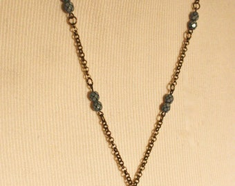 Vintage Key Necklace with Snowflake & Light Blue Beads