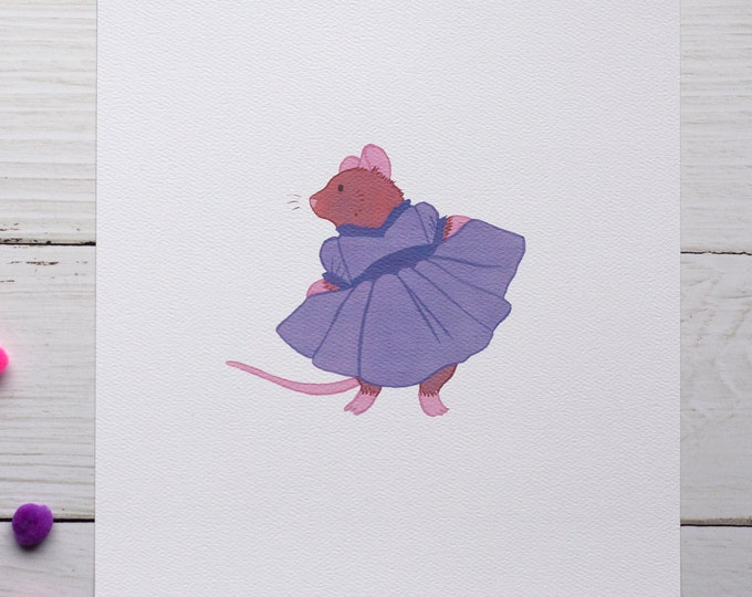Twirling Mouse 8x10 Print [Purple]