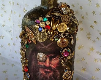 One Eye Pirate Decorated Bottle