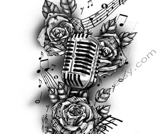 Vintage Microphone and Music ~ Tattoo Design