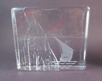 Vintage Edenfalk Skruf Block Paperweight Made in Sweden Swedish Art Glass Scandinavian Boat Viking Ship