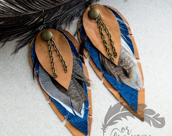 Foxy Leather Earrings Jeans fabric Feather Earrings Leather Feather Long Earrings Boho Earrings Boho Jewelry Handmade Leather Jewelry FD003