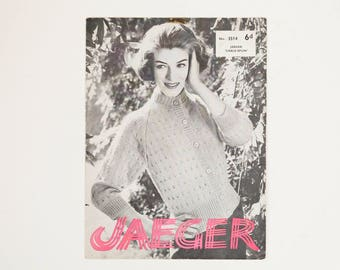 Jaeger Ladies' Cardigan Vintage Knitting Pattern, 1950s Knitting Pattern
