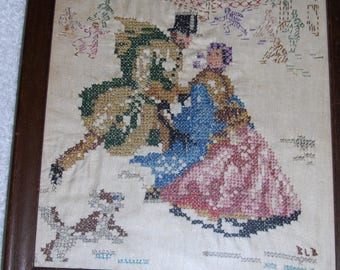 Vintage Framed Embroidery Needlepoint Wall Hanging Victorian Skating Couple Signed