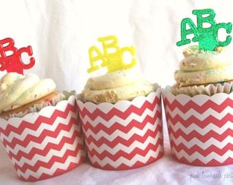 ABC Cupcake Picks -set of 12 plastic picks---back to school-teacher appreciation