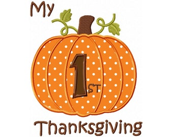 My 1st Thanksgiving Applique Machine Embroidery DESIGN NO. 172