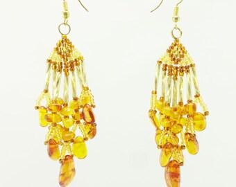 Designer Baltic Amber Chandelier Earrings
